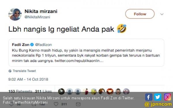 Hehehe... Kicauan Nikita Mirzani Permalukan Fadli Zon