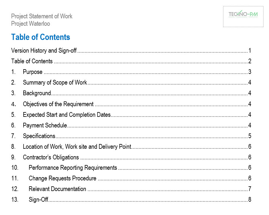 Statement Of Work Sow Templates Word And Pdf Free Download