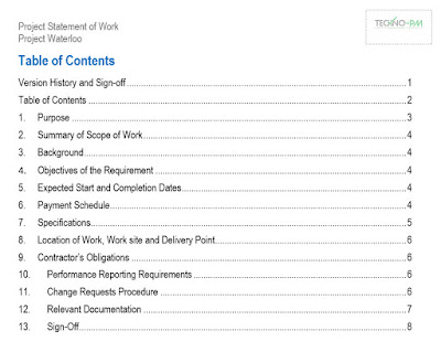 Statement of Work Template Template