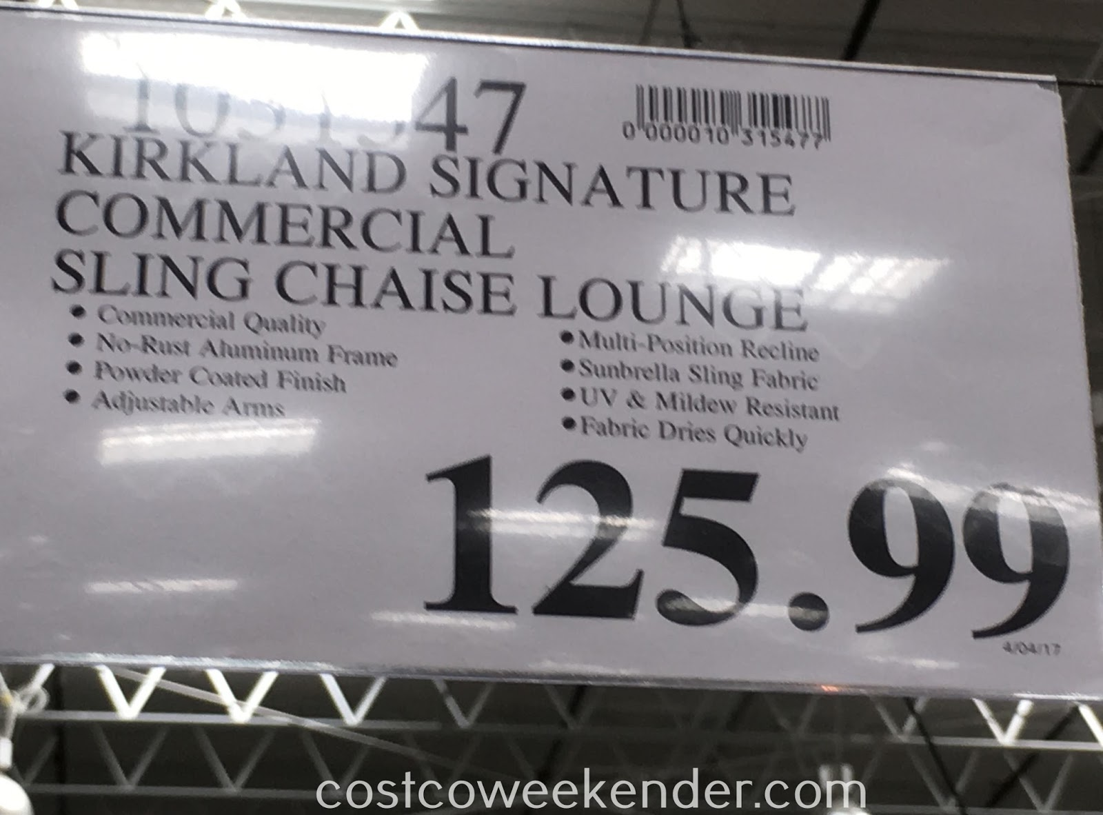 Costco 1031547 - Deal for the Kirkland Commercial Sling Chaise Lounge Chair at Costco