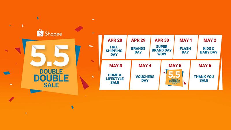 The Shopee 5.5 Double Double Sale calendar