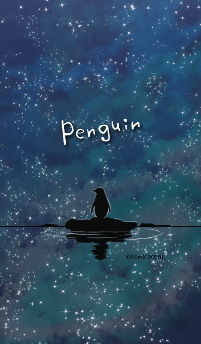 Night, star and penguin