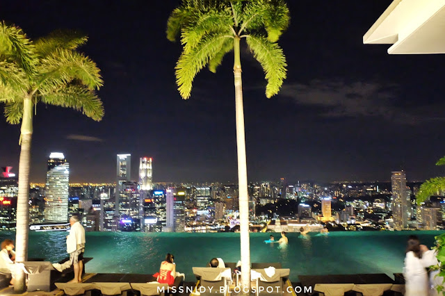 night view from marina bay sands infinity pool