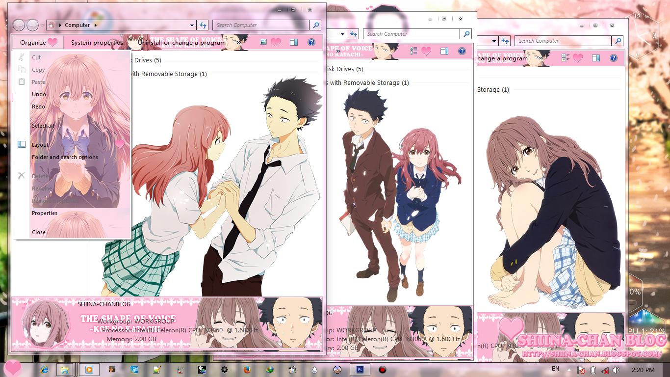 Windows 7 Theme Koe no Katachi by Shiina-chan Blog 3