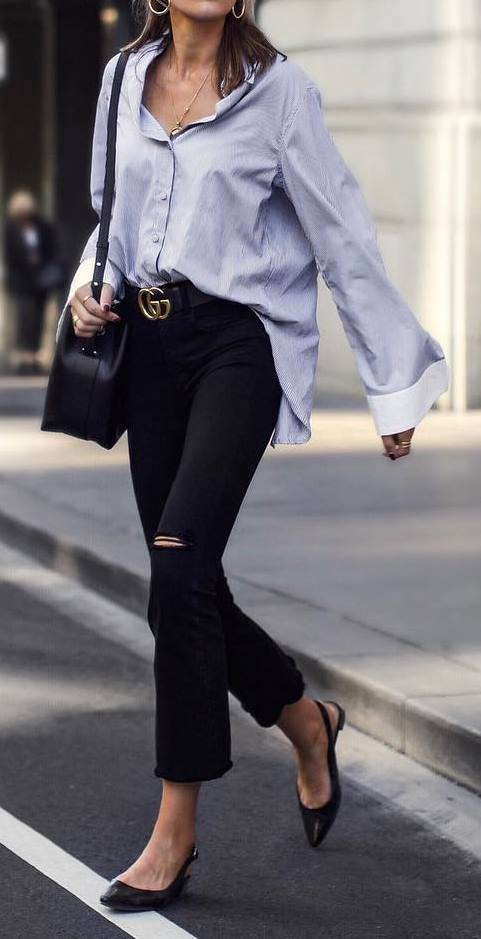 street style outfit: shirt + ripped jeans