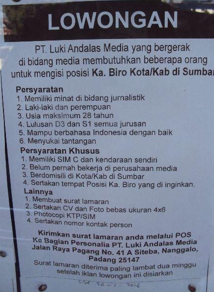 Lowongan Kerja di PT Luki Andalas Media