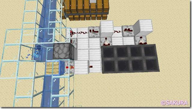 マインクラフト 水流を使った自動仕分け機 クロック回路