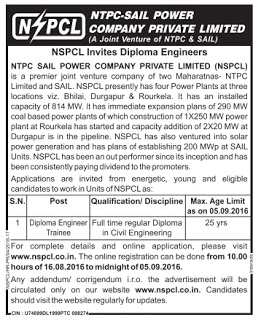 NSPCL Recruitment 2016 08 Diploma Trainee Posts