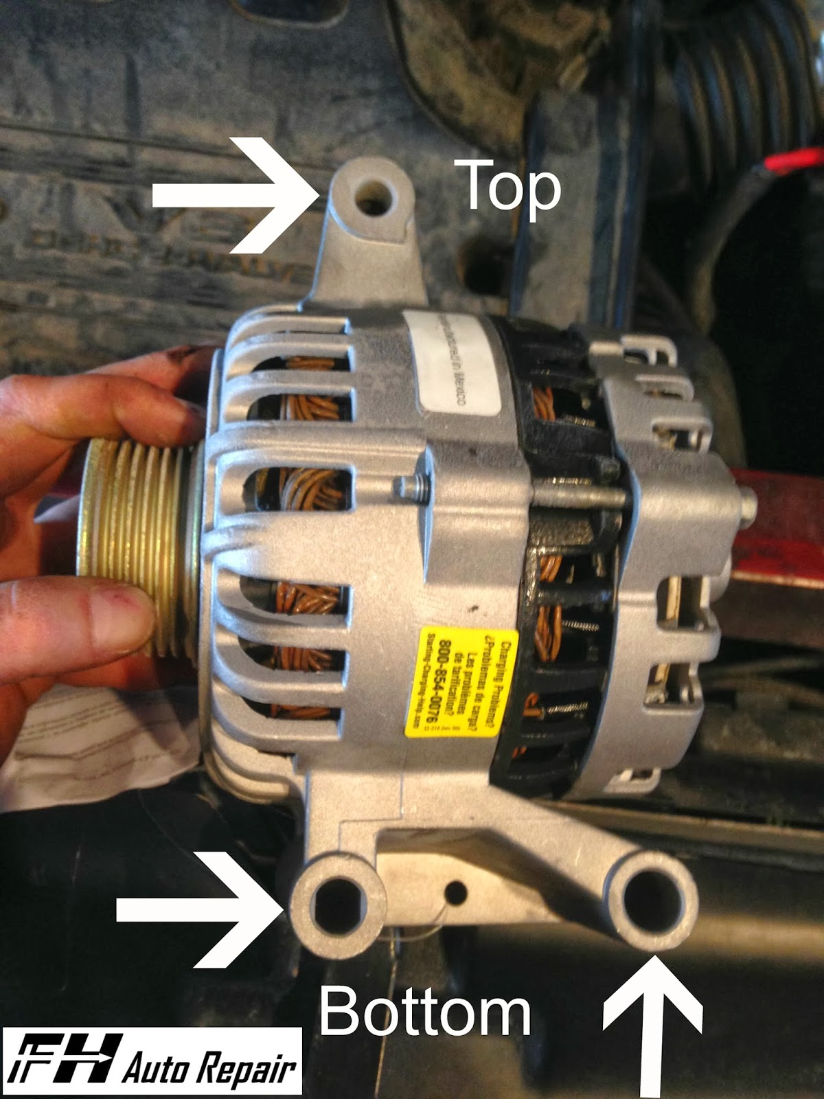 fh auto repair how to replace the alternator on a 2001. Black Bedroom Furniture Sets. Home Design Ideas