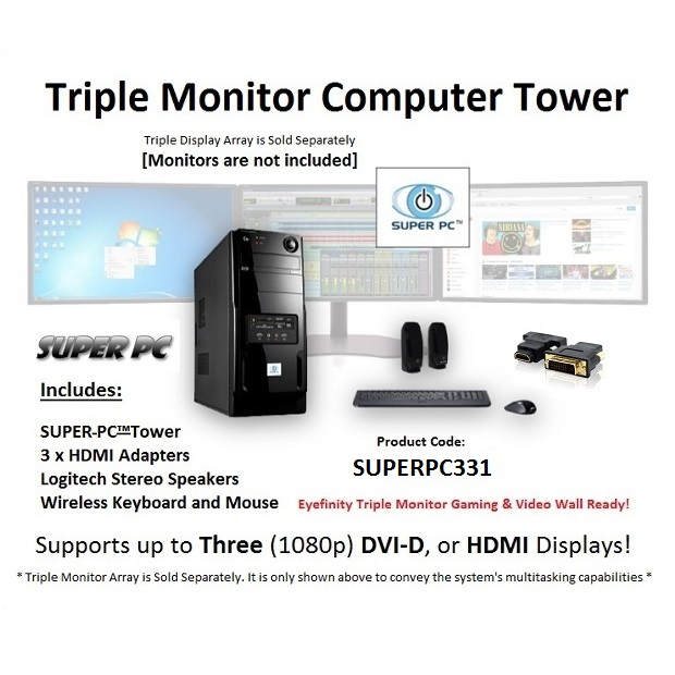 SUPER PC Three Monitor Computer System