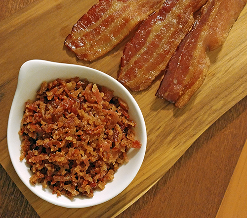 Bacon crumbles for bacon crusted salmon.