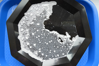 salt crystals on plate after evaporation