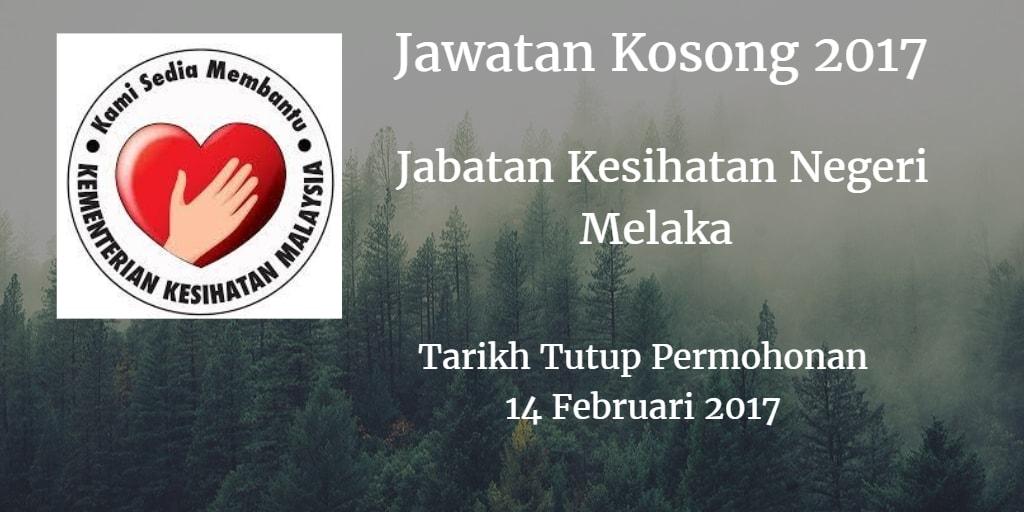 Jawatan Kosong Jabatan Kesihatan Negeri Melaka 14 Februari 2017