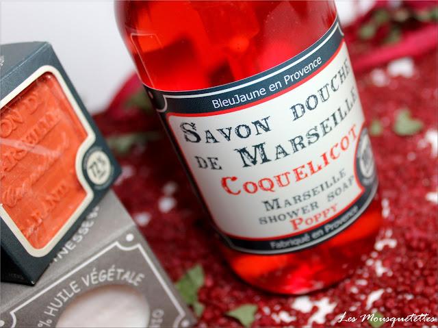 Savon douche de Marseille liquide coquelicot Savonnerie Bleujaune en Provence - Les Mousquetettes©