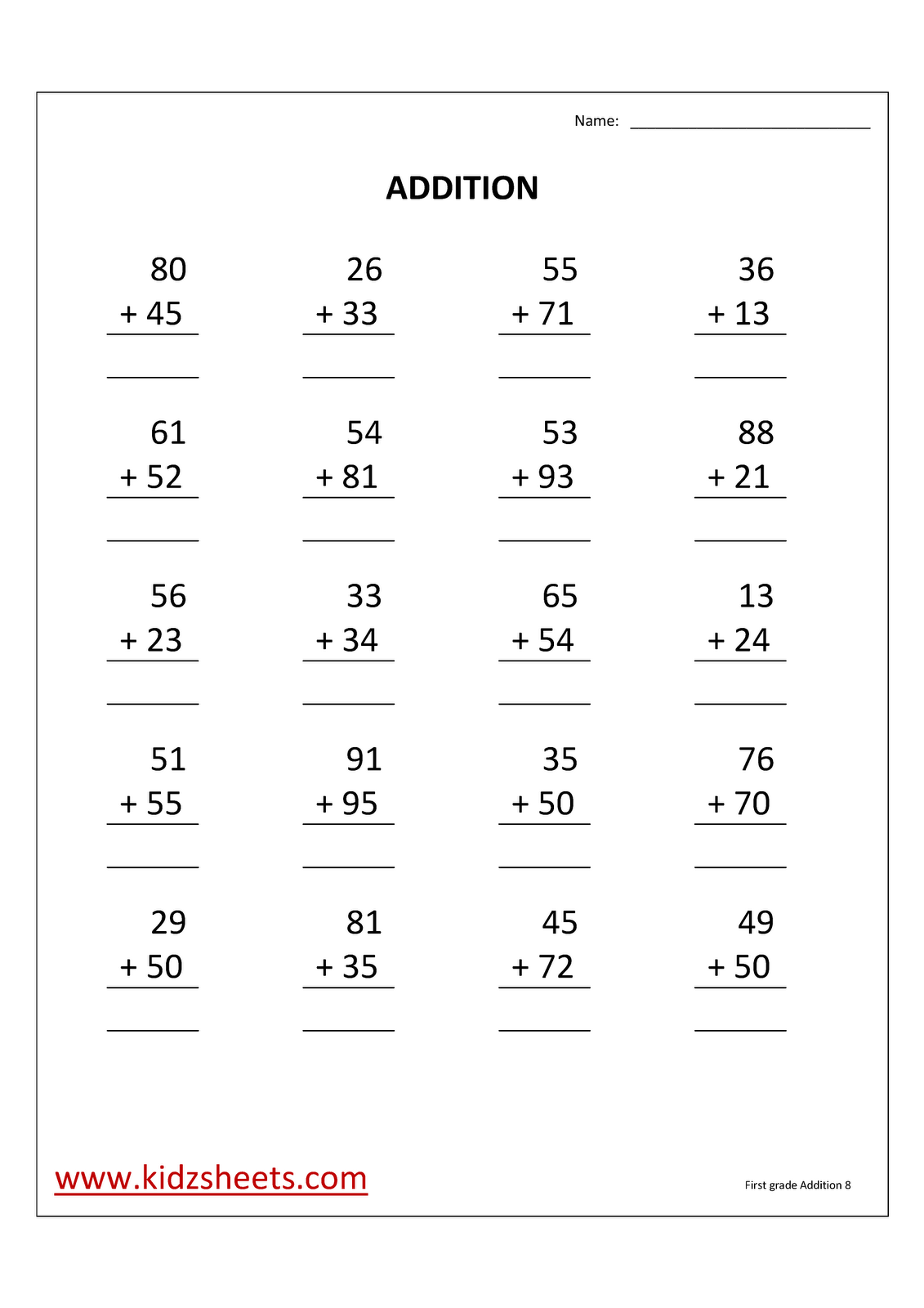Kidz Worksheets First Grade Addition Worksheet8