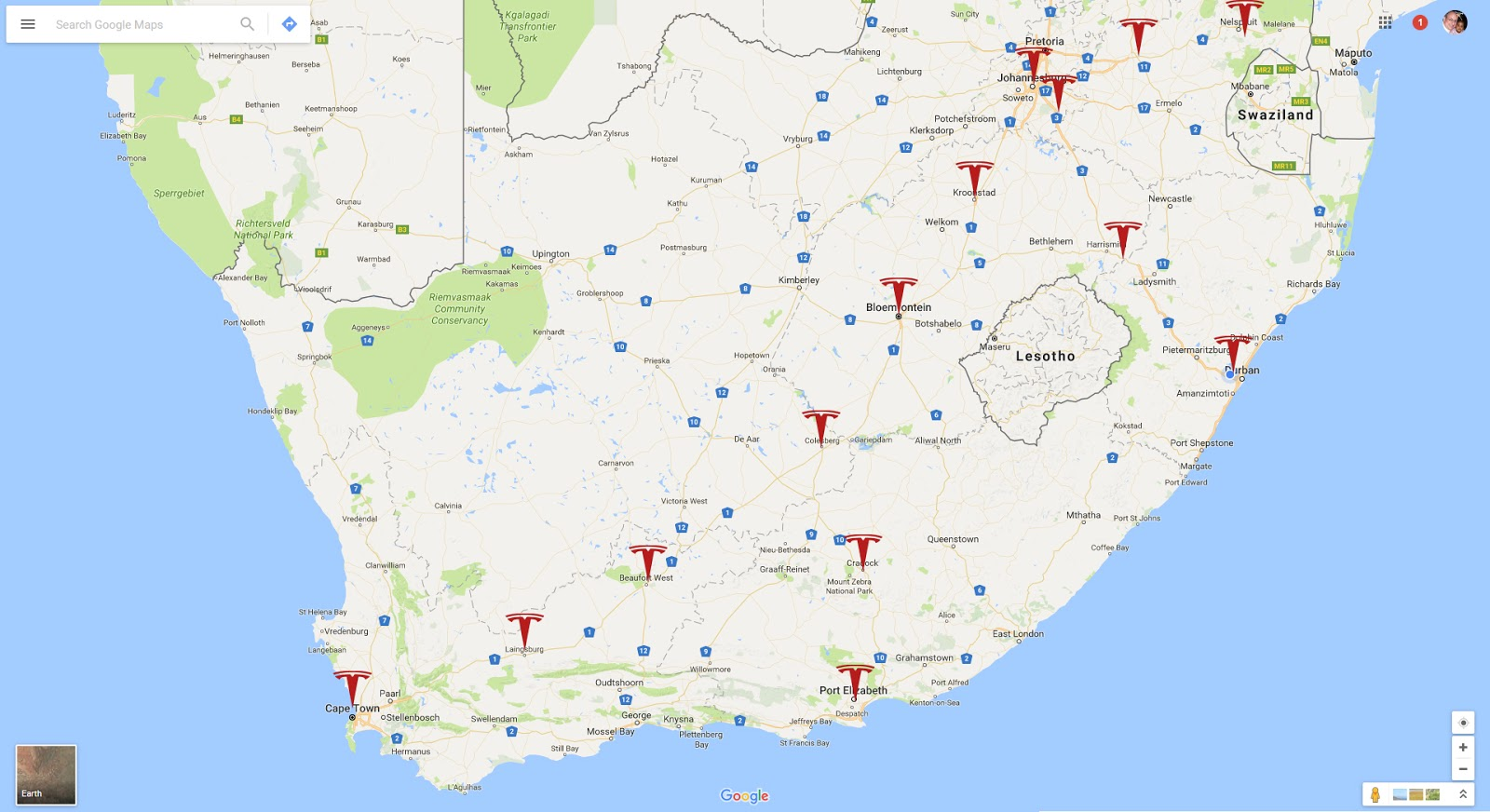 Africa Electric Car: Where should Tesla place their Superchargers in ...