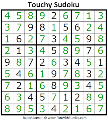 Answer of Touchy Sudoku Puzzle (Fun with Sudoku #296)