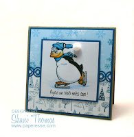 Ayez un Noël très cool ! Have a cool Christmas! card featuring QKR Stampeded Ice Skating digital stamp, by Paperesse.