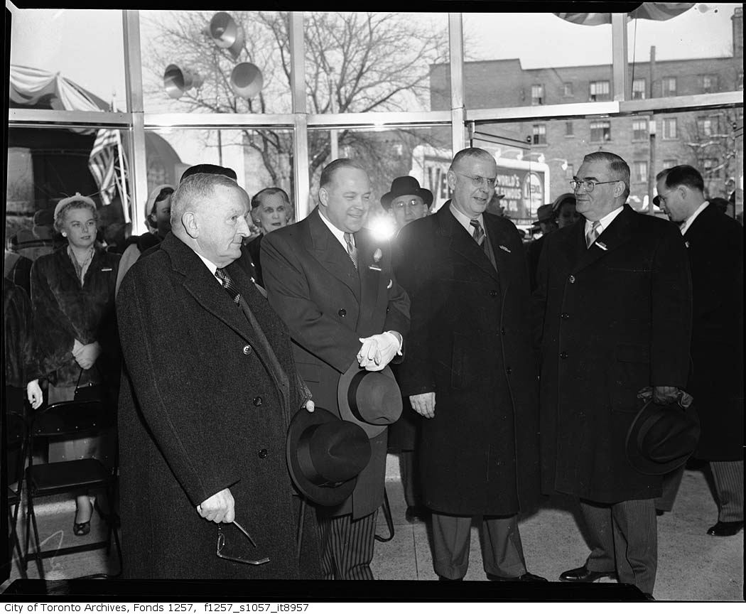 Politicians at the opening ceremonies for the Toronto subway