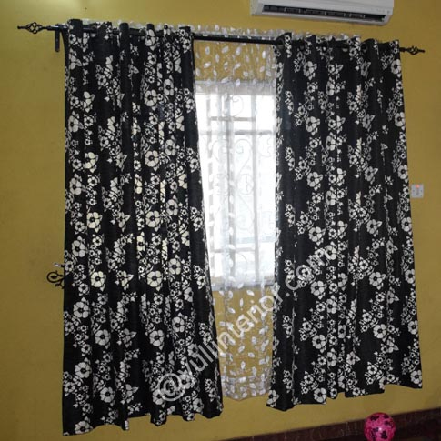 Black and White Flowers Eyelet Curtains in Port Harcourt, Nigeria