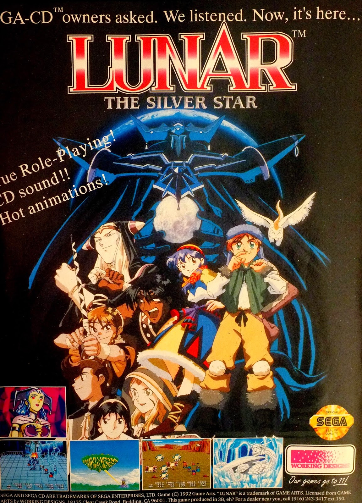 Lunar. The Silver Star for Sega CD advertisement