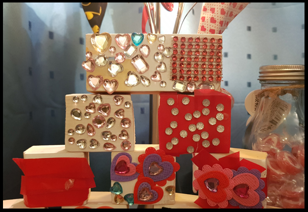 Handmade child Valentine blocks