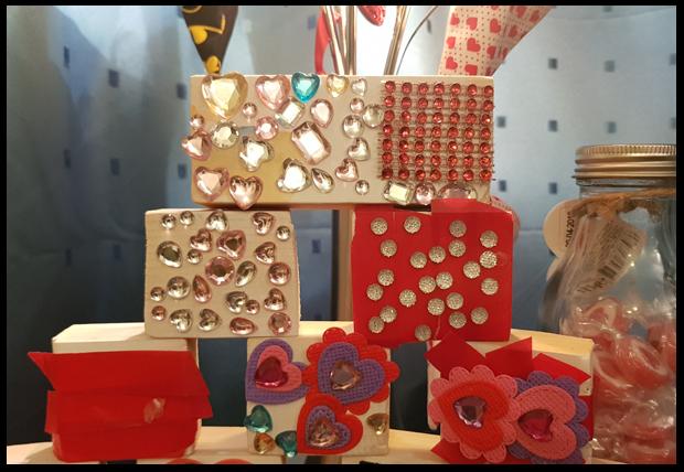 Handmade child Valentine blocks