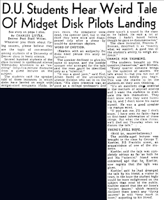 D.U. Students Hear Weird Tale of Midget Disk Pilots Landing - Denver Post 3-9-1950