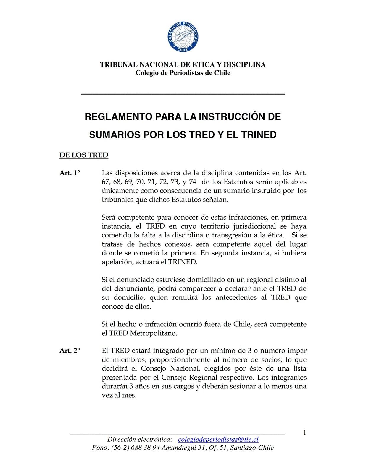 Reglamento para la Instrucción Sumarios de los Tribunales de Ética y Disciplina