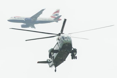 Helicopters of the President Obama security team flying over London during UK visit