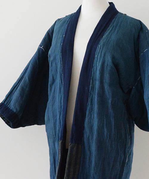 綿入れ半纏 FUNS 藍染 丹前 ジャパンヴィンテージ 30年代 クレイジー Hanten Jacket Indigo Dyed Aizome Japanese Vintage 30s Kimono