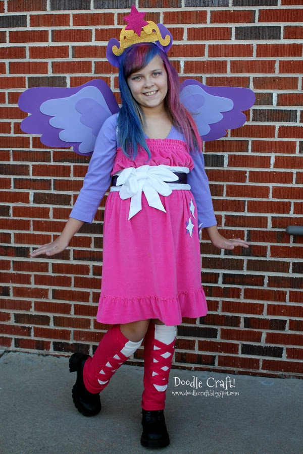 Colored hair, a crown and wings for this handmade teen Twilight Sparkle diy costume.
