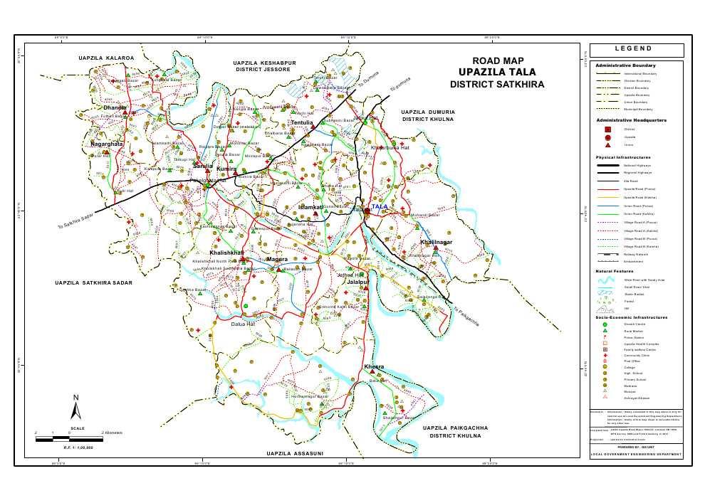 Tala Upazila Road Map Satkhira District Bangladesh