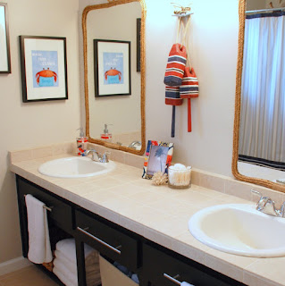 dashing kids bathroom paint colour plus cute white sinks and stainless steel faucet also twin vertical mirrors