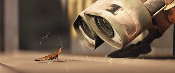 WALL-E looking into the night sky animatedfilmreviews.filminspector.com