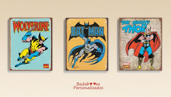 Pôster, posteres, kit digital, arte digital, quadro, quadros, quadrinhos, prints, printable, heróis, avengers, vitage, comics, wolverine, batman, thor