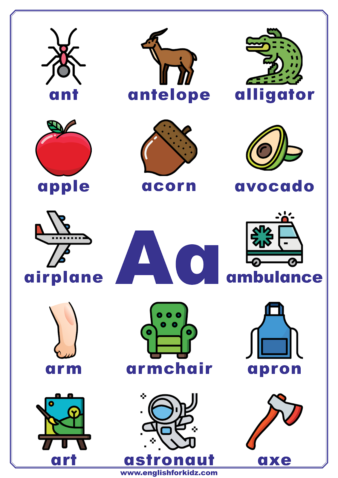 English For Kids Step By Step Letter A Worksheets Flash