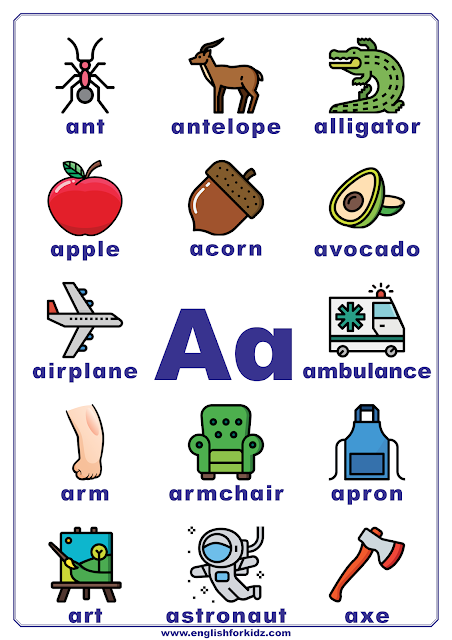 Printable alphabet poster - letter A with pictures - classroom wall decoration