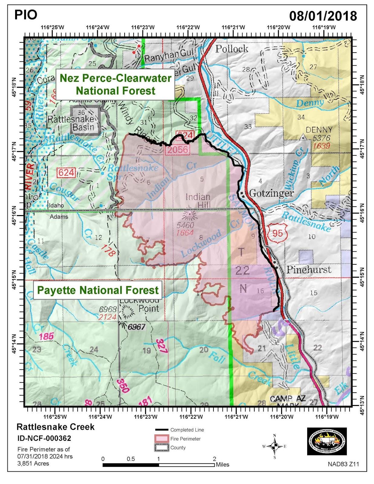 Idaho Fire Information Rattlesnake Creek Fire 8 1 2018 Update
