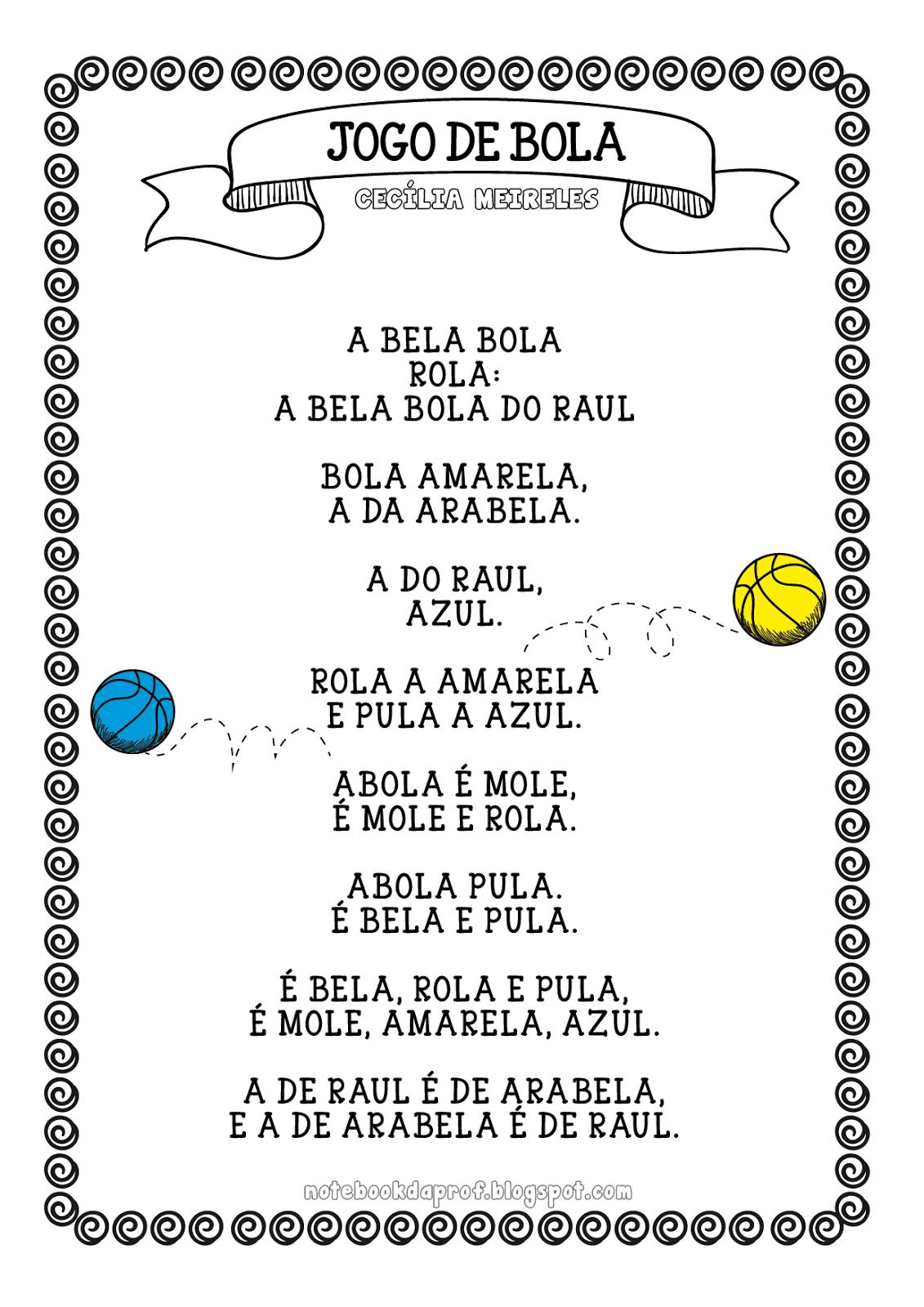 Populares Atividades com Texto Jogo de Bola - Cecília Meireles — SÓ ESCOLA JV76
