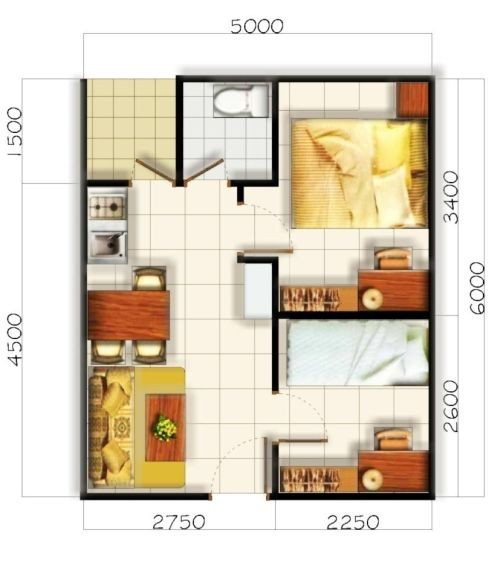 gambar denah rumah kecil sederhana 2