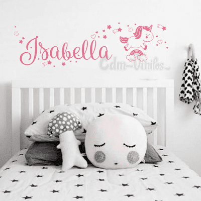 Vinilo unicornio estrellas fugaces nombre personalizado, decoracion para niños, decoracion nordica para dormitorio
