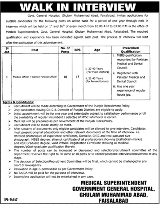 Jobs in General Hospital Faisalabad Oct 2017