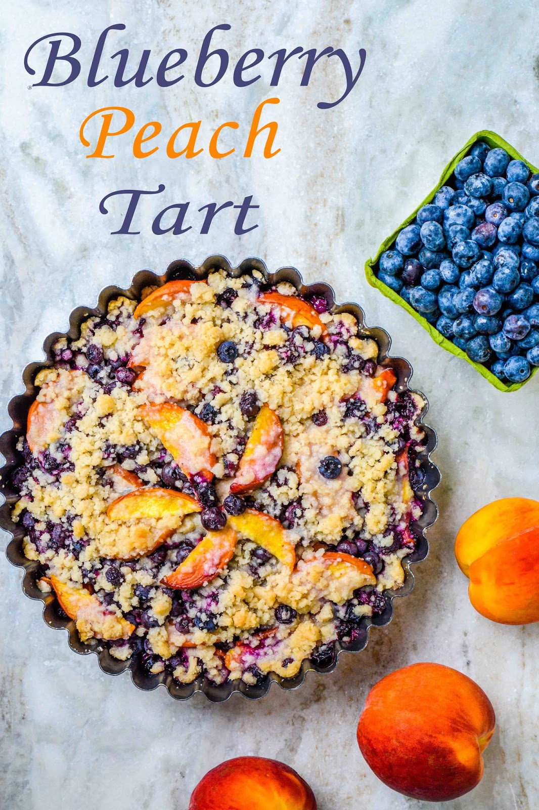 Blueberry Peach Crumble Tart