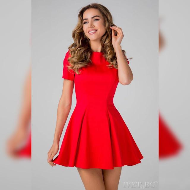Κοντομάνικο κοντό κόκκινο φόρεμα REDONA