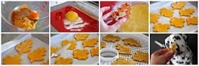 Step-by-step making pumpkin spice dog treats shaped like autumn leaves