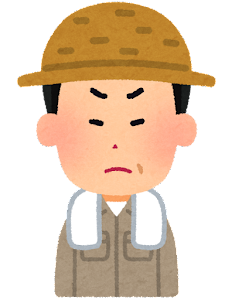 農家の男性のイラスト(怒った顔)