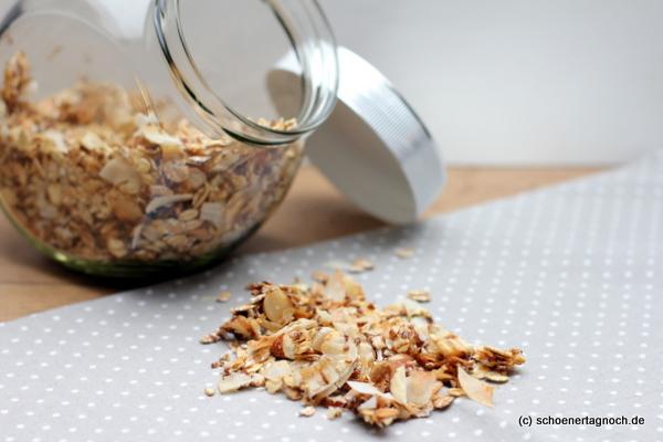 Selbstgemachtes knuspriges Nuss-Müsli mit Kokoschips