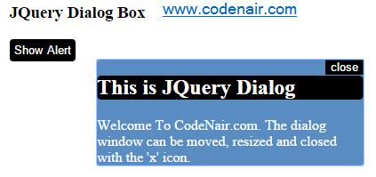 dialog box using jquery UI
