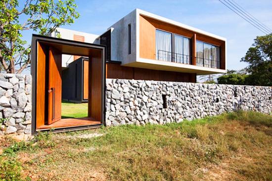 pagar batu alam modern minimalis